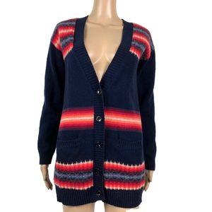 Gap Cardigan Aztec Sunset Sweater Lambs Wool